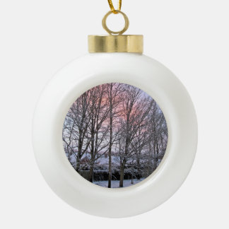 Early Morning Snowy Trees Ceramic Ball Christmas Ornament