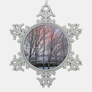 Early Morning Snowy Trees Snowflake Pewter Christmas Ornament