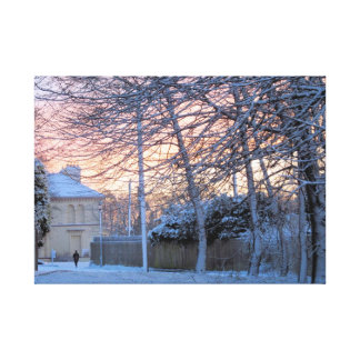 Early Morning Snowy Winter Stretched Canvas Print