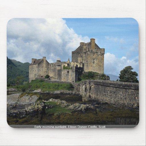 Early morning sunlight, Eileen Donan Castle, Scotl Mouse Pad