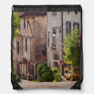 Early morning view down street drawstring backpack