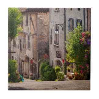 Early morning view down street ceramic tile
