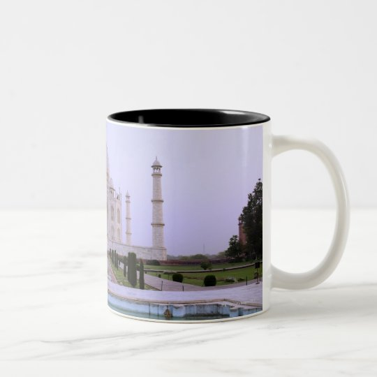 early morning view of the Taj Mahal reflected in Two-Tone Coffee Mug