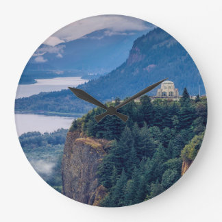 Early Morning View Of Vista House At Crown Point Large Clock