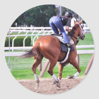Early Morning Workouts at Saratoga Classic Round Sticker