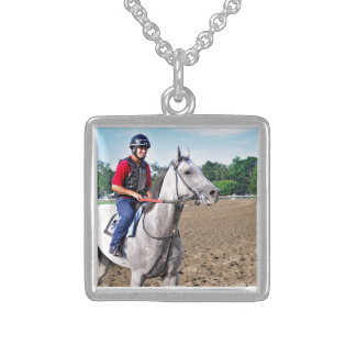 Early Morning Workouts at Saratoga Sterling Silver Necklace