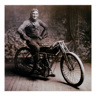 EARLY MOTORCYCLE PIONEER RAY WEISHAAR  1914 POSTER