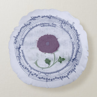 Early Music Manuscript Flower Round Pillow