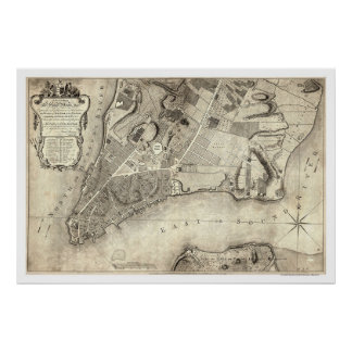 Early New York City Map 1776 Poster