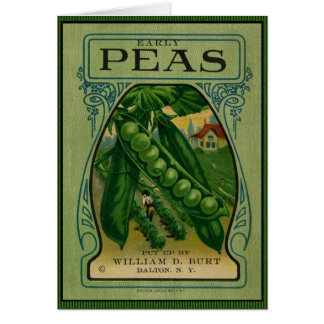 Early Peas Vintage Seed Packet Greeting Card