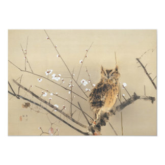 Early Plum Blossoms by Nishimura Goun, Vintage Owl Card
