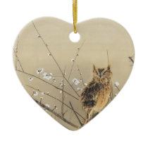 Early Plum Blossoms by Nishimura Goun, Vintage Owl Ceramic Ornament