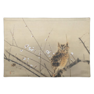 Early Plum Blossoms by Nishimura Goun, Vintage Owl Cloth Placemat