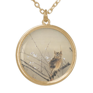 Early Plum Blossoms by Nishimura Goun, Vintage Owl Gold Plated Necklace