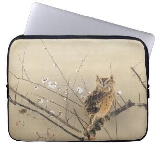 Early Plum Blossoms by Nishimura Goun, Vintage Owl Laptop Sleeve