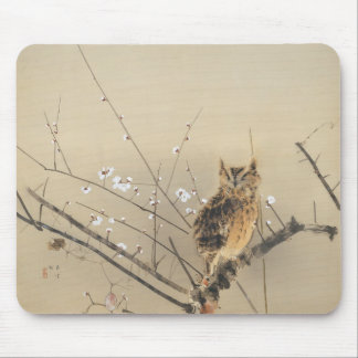 Early Plum Blossoms by Nishimura Goun, Vintage Owl Mouse Pad