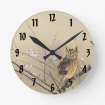 Early Plum Blossoms by Nishimura Goun, Vintage Owl Round Clock