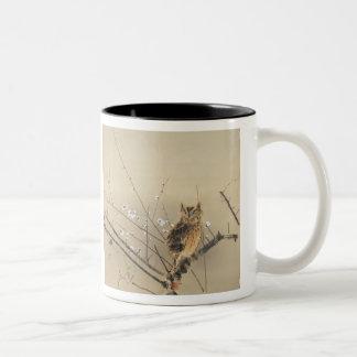 Early Plum Blossoms by Nishimura Goun, Vintage Owl Two-Tone Coffee Mug