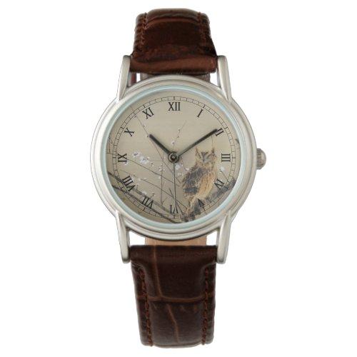 Early Plum Blossoms by Nishimura Goun Vintage Owl Wrist Watch