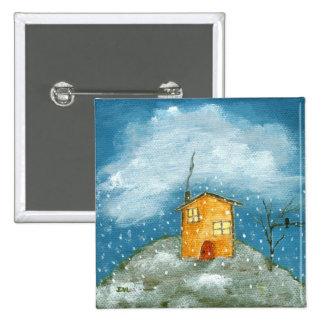 Early Snow Storm Folk Art Original Painting Pinback Button