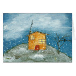 Early Snow Storm Original Art Greeting Note Card