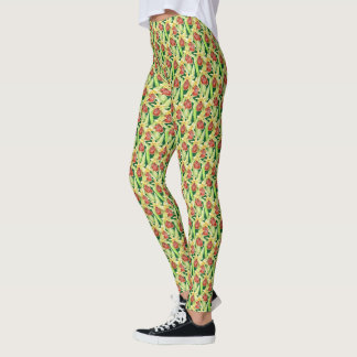Early spider orchid watercolor floral pattern leggings