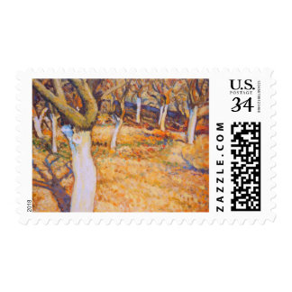 Early Spring in Apple Orchard Postage Stamp