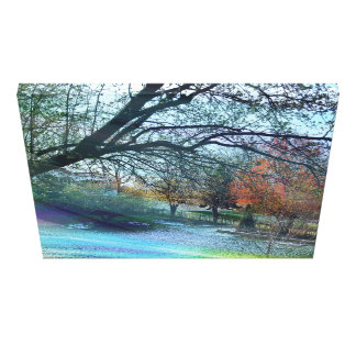 Early Spring Landscape With Colorful Mist Canvas Print