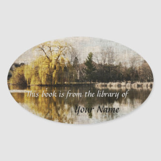 Early spring pond reflections library sticker