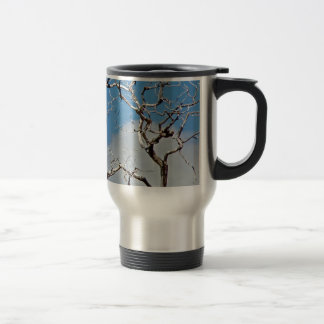 EARLY SPRING WITH BLUE SKY AND TREE BRANCHES TRAVEL MUG