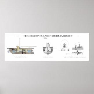 EARLY SUBMARINE  1806 PRINT