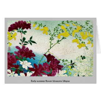 Early summer flower blossoms Ukiyoe Greeting Card