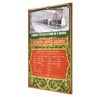 Early timetable for the London to Dover Railway Canvas Print