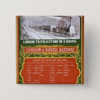 Early timetable for the London to Dover Railway Pinback Button