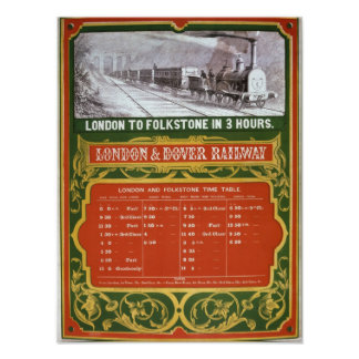 Early timetable for the London to Dover Railway Poster