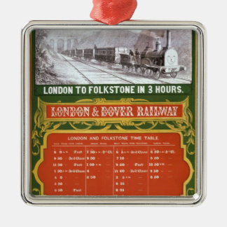 Early timetable for the London to Dover Railway Square Metal Christmas Ornament