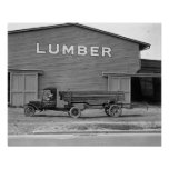 Early Tractor Trailer, 1925. Vintage Photo Poster