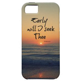 Early will I seek Thee Bible Verse Ocean Sunrise iPhone 5 Case
