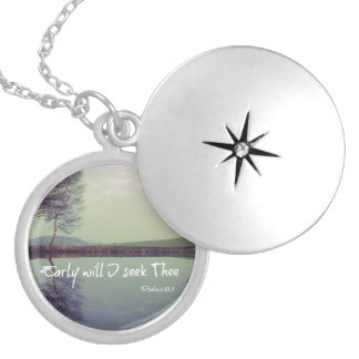 Early Will I seek Thee Bible Verse Round Locket Necklace