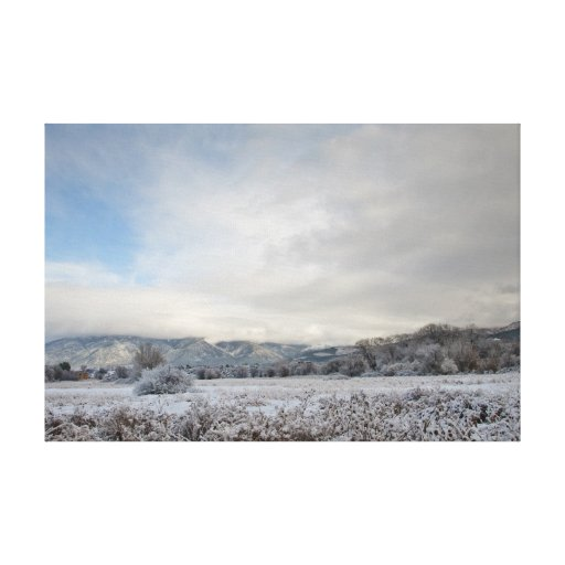 Early Winter Snow Scene in Taos, New Mexico Stretched Canvas Prints