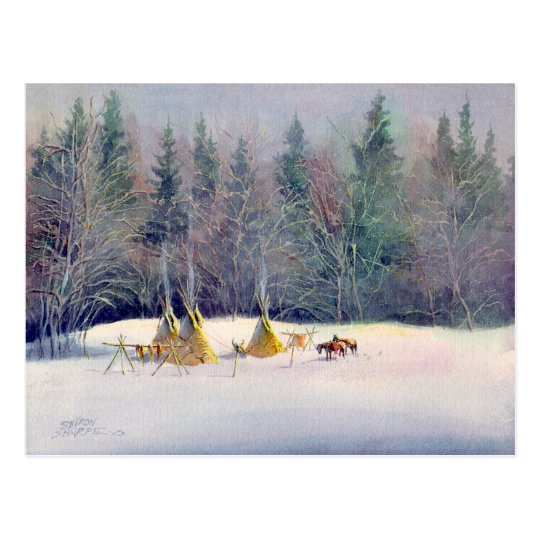 EARLY WINTER TIPI CAMP by SHARON SHARPE Postcard