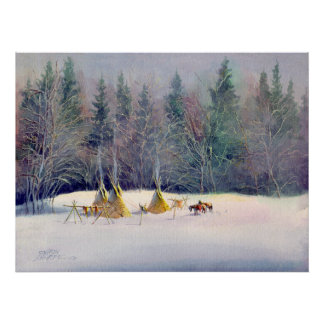 EARLY WINTER TIPI CAMP by SHARON SHARPE Poster