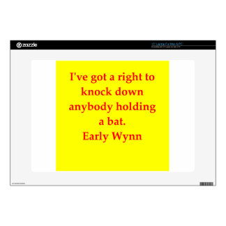 "early wynn quote 15"" laptop skin"