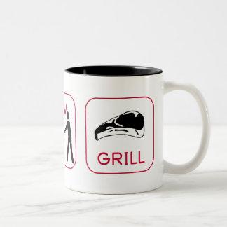 Earn. Mow. Grill. Two-Tone Coffee Mug