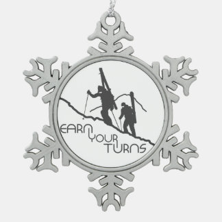 Earn Your Turns Snowflake Pewter Christmas Ornament