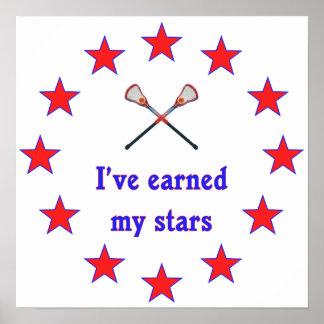 Earned My Stars Lacrosse Poster