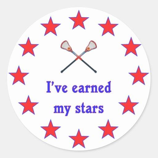 Earned My Stars Lacrosse Round Sticker