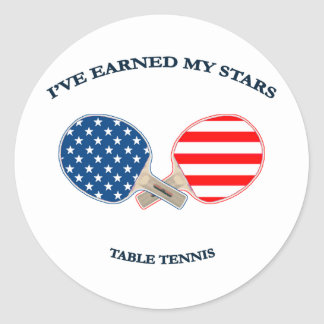 Earned My Stars Table Tennis Classic Round Sticker