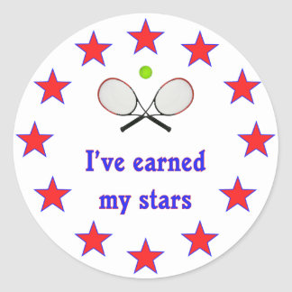 Earned My Stars Tennis Classic Round Sticker
