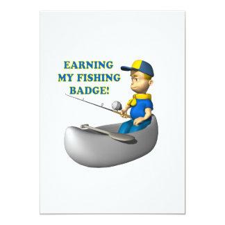 Earning My Fishing Badge 5x7 Paper Invitation Card